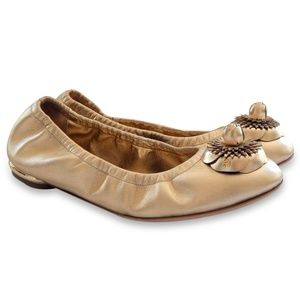 NEW CHANEL Gold CC Logo Camelia Ballerina Shoes